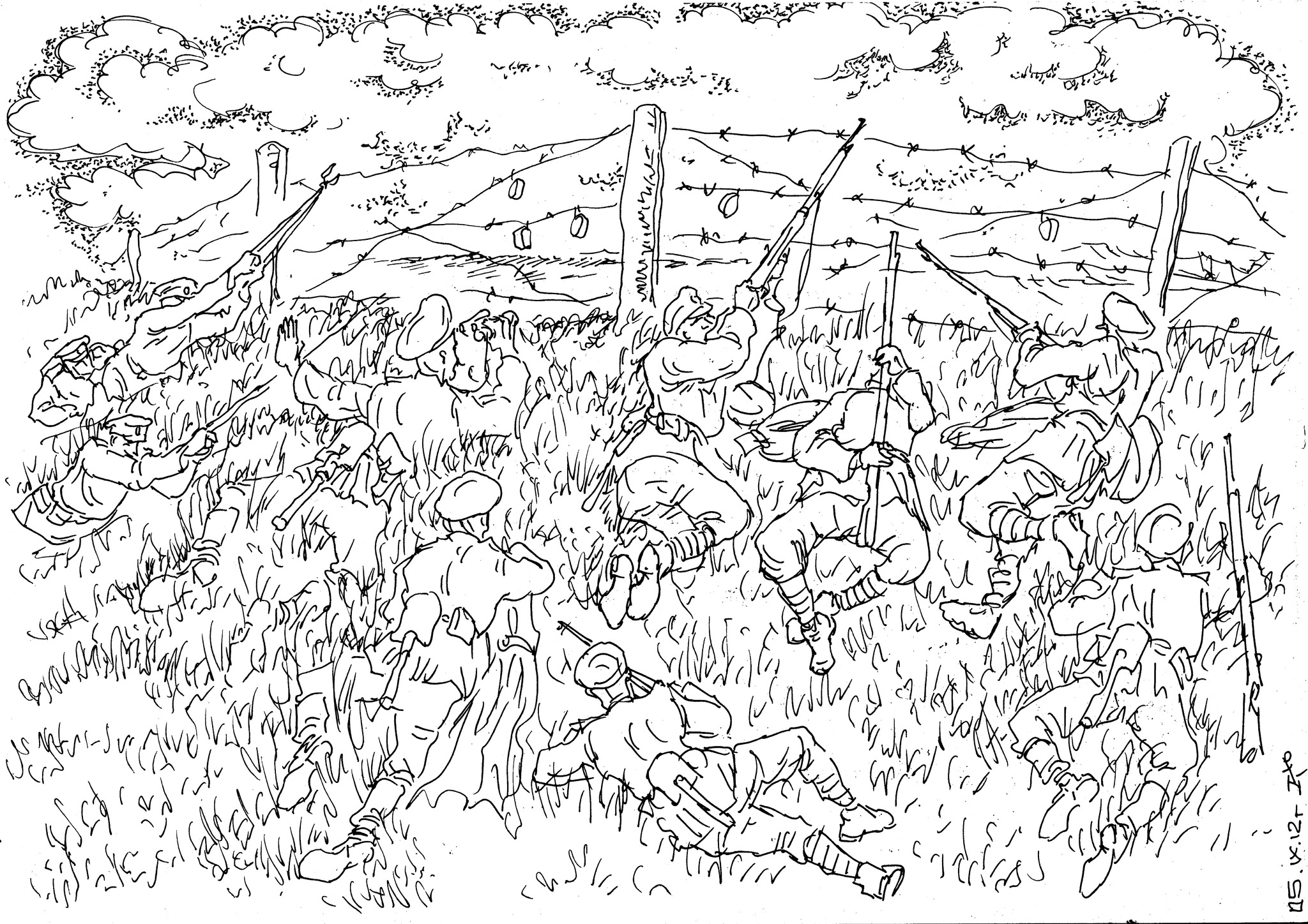 Колючая проволока — серьезное препятствие для наступающей пехоты