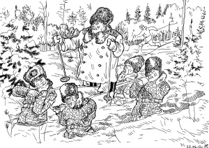 Генеральская лыжная прогулка. Сам любит покататься по зимнему лесу