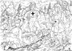 Подготовка санитаров-носильщиков в войсках