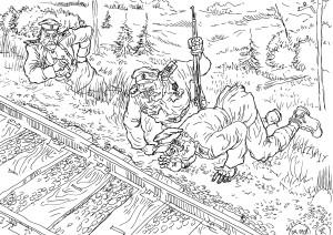 Минирование железнодорожного пути чинами железнодорожных войск
