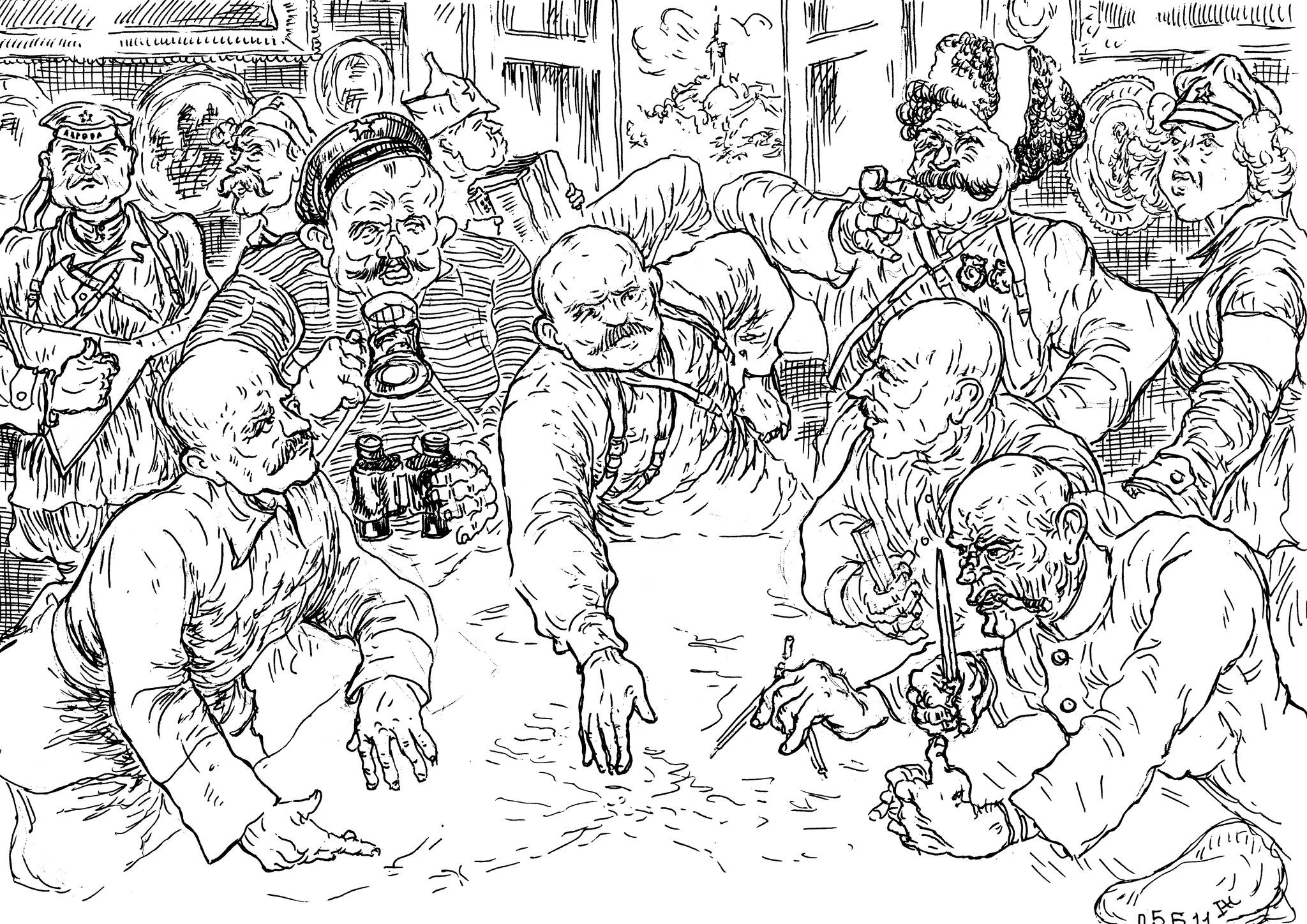 В штабе «красных» военспецы из бывших офицеров разрабатывают новую операцию