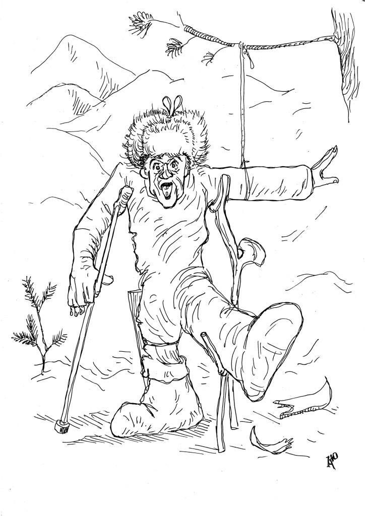 Надевание лыж, спуск с горы, владение костылями