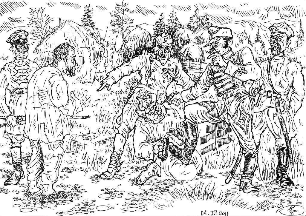 «Военнопленный», местный крестьянин, в лапах иноземных красноармейцев