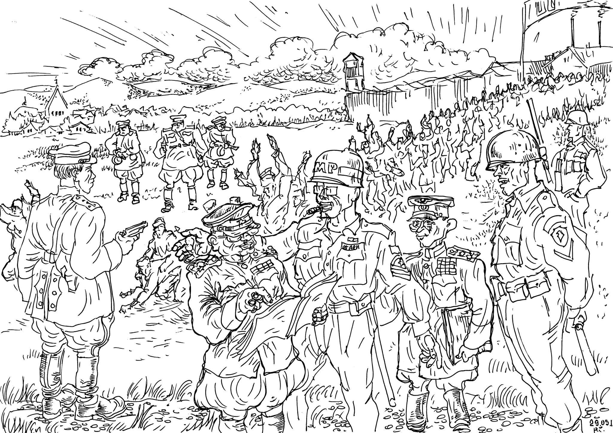 Американские солдаты передают русских военнопленных представителям советского командования