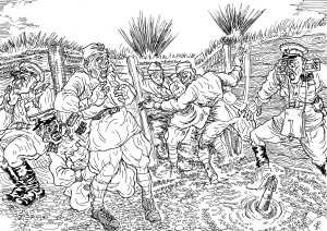 Окопы обстреляны миномётным огнем противника, и тройка особистов, а так же наушники и соглядатаи, пошли на «мокрое дело»