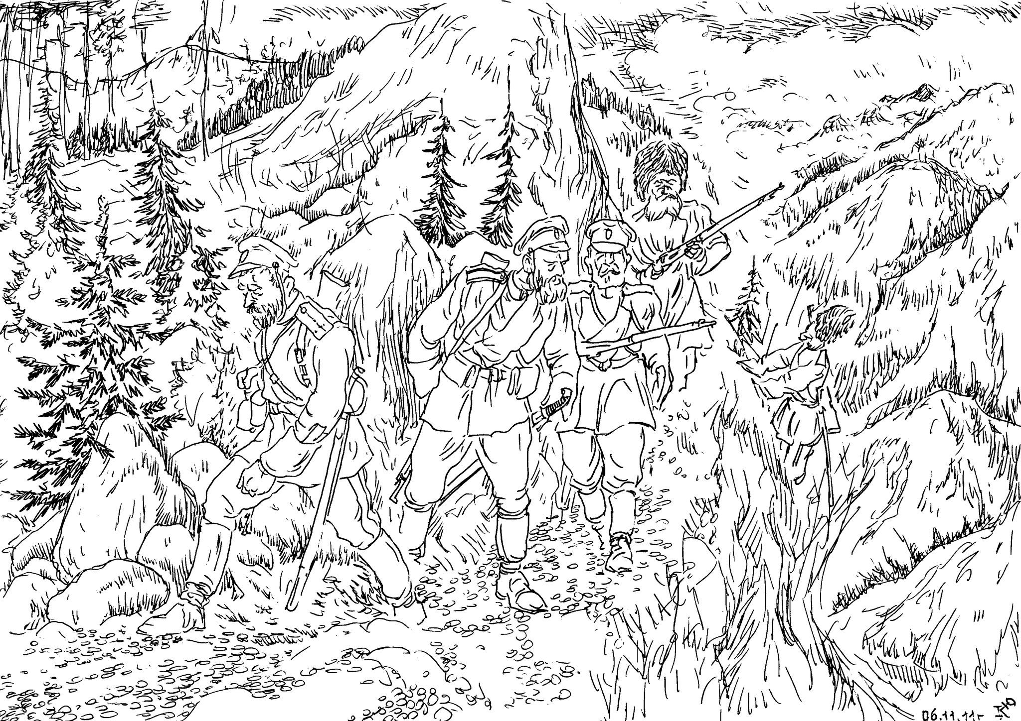 Русско-японская война 1905 года. Команда пеших охотников (разведчиков) в рейде