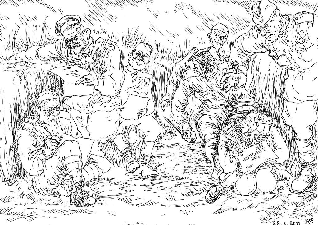В перерывах между боями солдаты писали письма домой