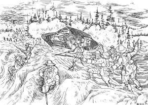 Английская Королевская пехота выступает на позиции противника