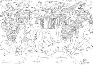 Матросский танец под народные частушки «Яблочко»