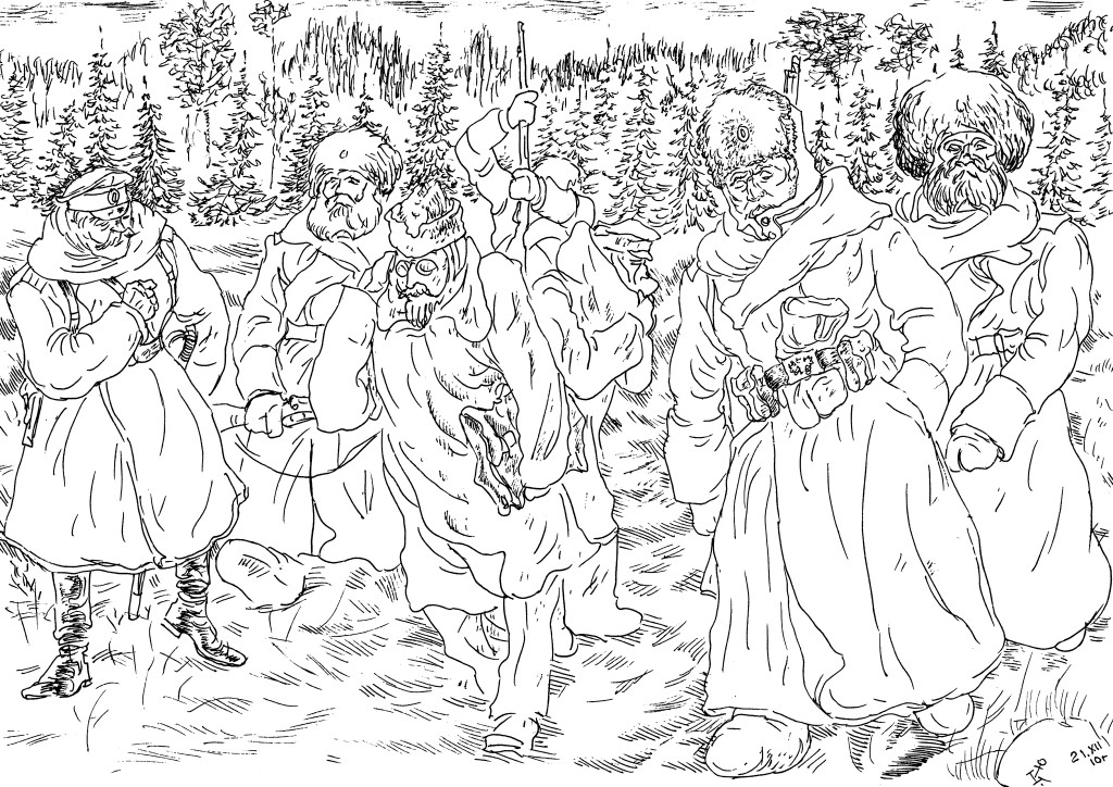 Сибирские стрелки сопровождают большевистских агитаторов к позициям их хозяев — германцев