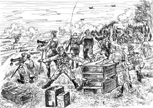 Развёртывание немецкого командного пункта  гаубичной батареи