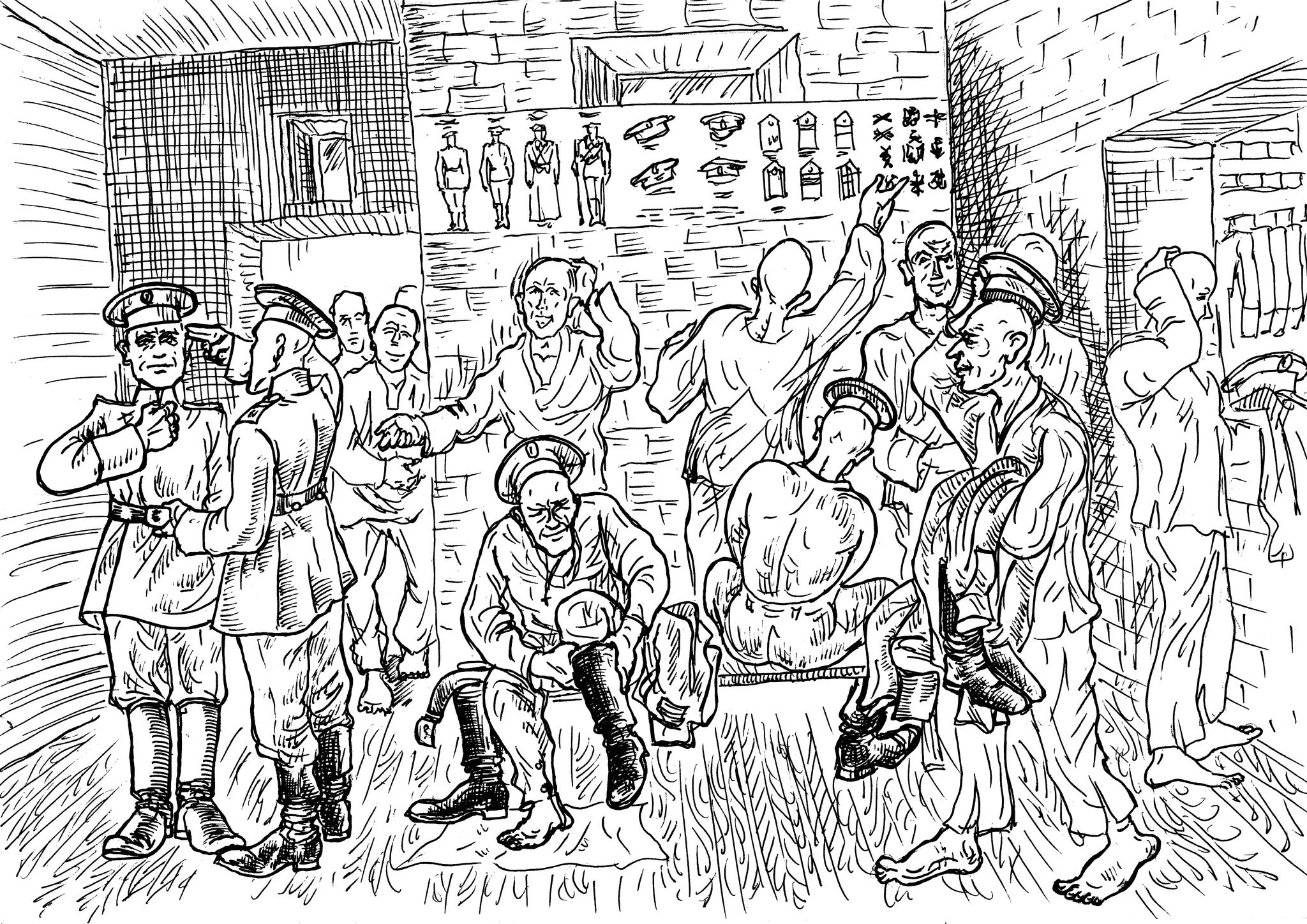 На складе вещевой службы воинской части призывники примеряют форму одежды
