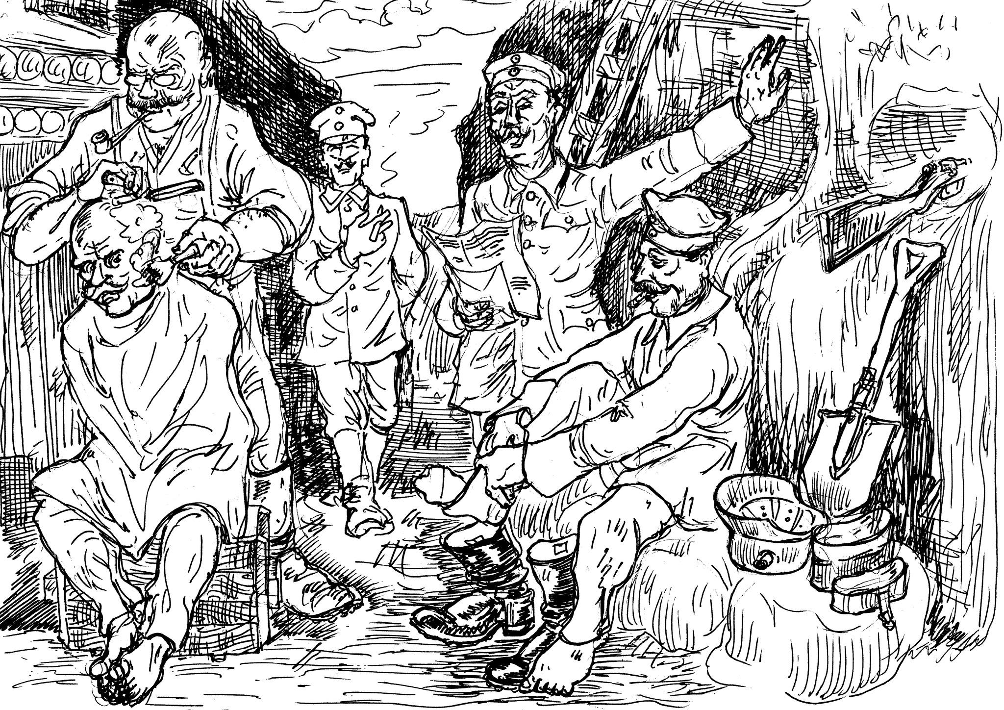Мировая война 1914 года. Германские солдаты в траншее. Редкий отдых между боями