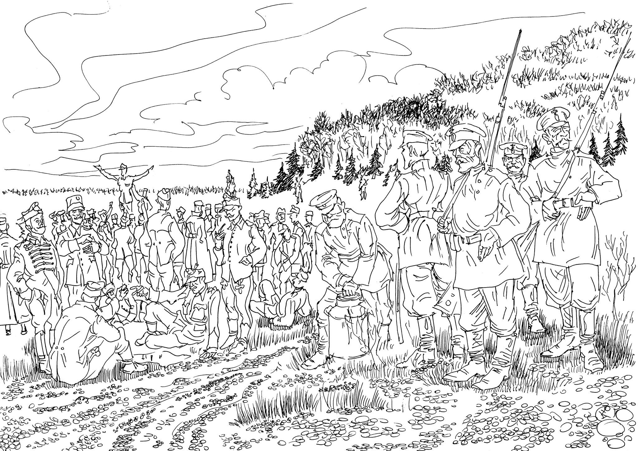 Русские ополченцы охраняют военнопленных Австро-Венгерской Королевской Армии