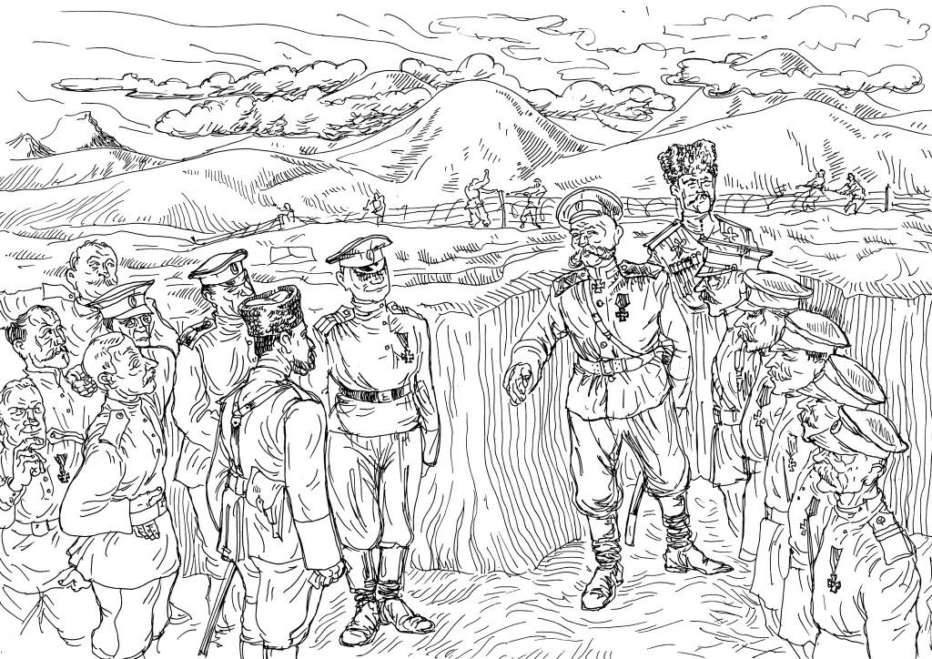 Николай Николаевич Юденич в окопах вместе со своими солдатами