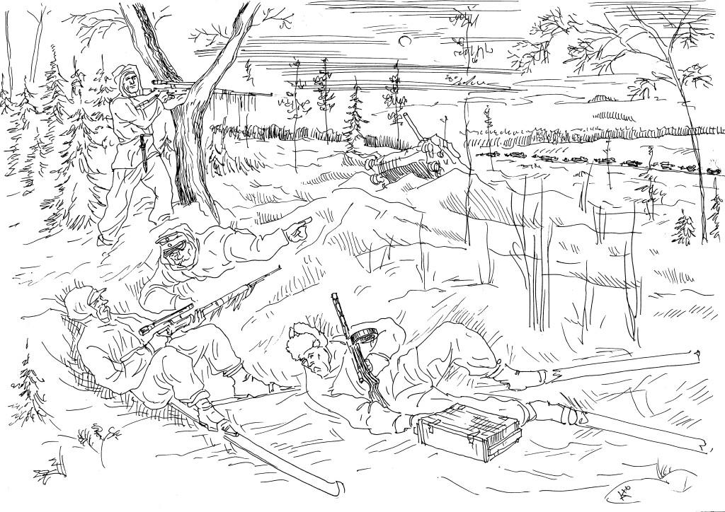 Маленькие отряды финляндской армии смело нападали на армейские колонны РККА