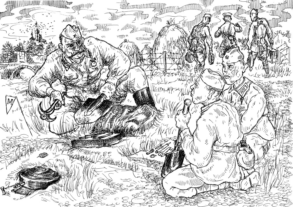 Подготовка минёров-пиротехников,  практические занятия в поле на местности.