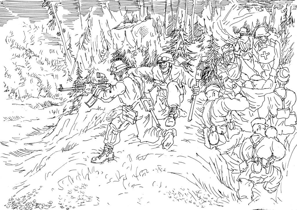 Конец Второй Мировой. У солдата штурмовая винтовка с инфракрасным прицелом