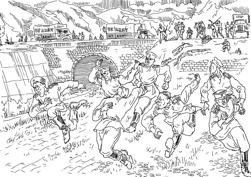 Юнкера и кадеты, казаки бегут с пункта передачи русских союзниками войскам РККА