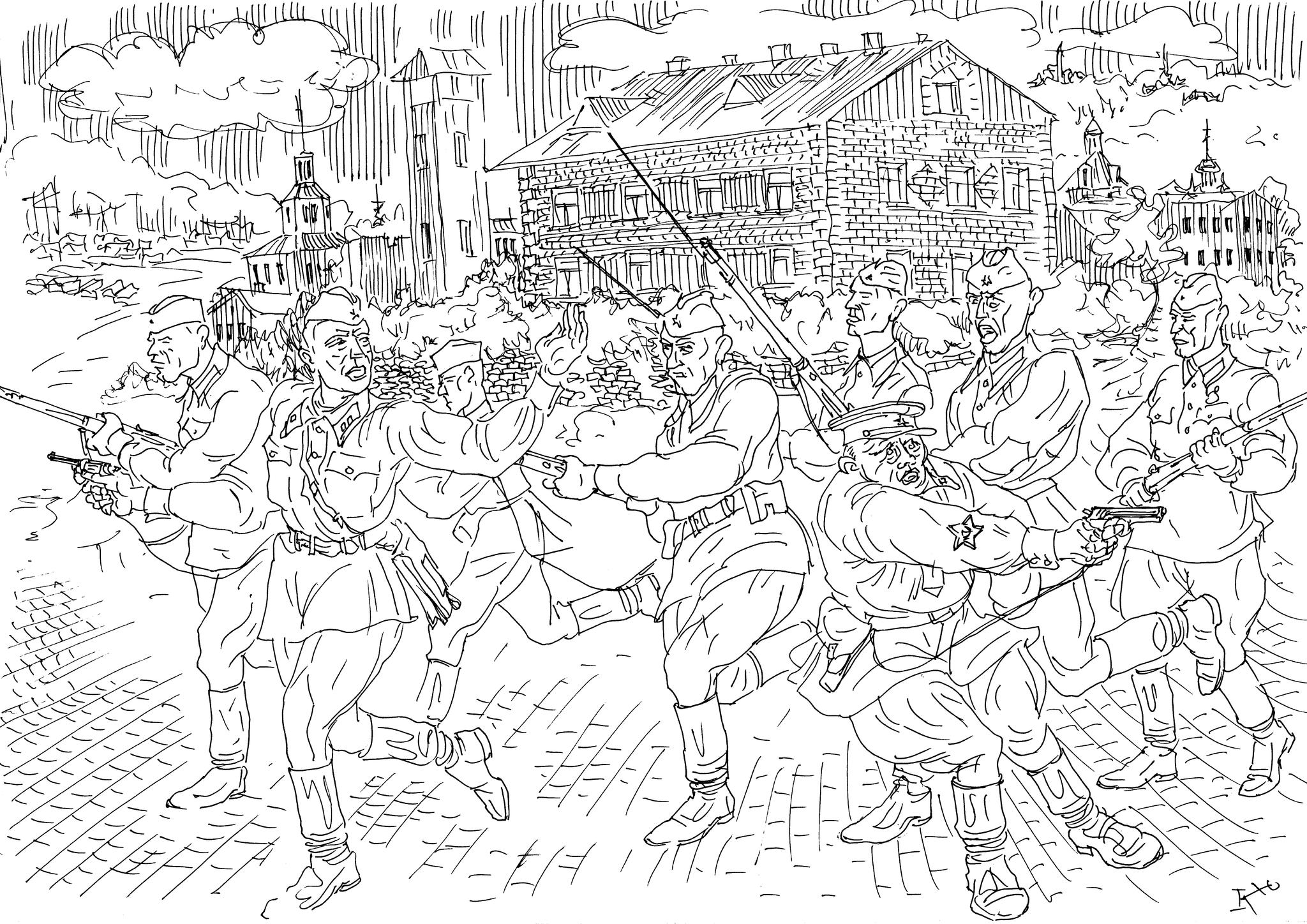 Командир взвода ведет в бой курсантов военного училища