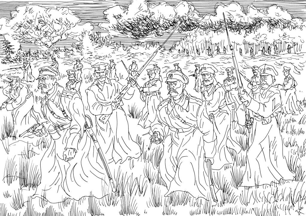 Атака русской пехоты. Первые месяцы войны «выкосили» кадровых офицеров почти полностью в войсках гвардии, гренадеров и пехоты