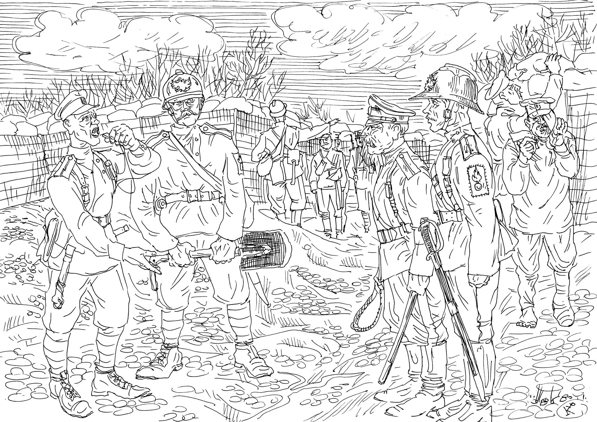 Прапорщик-гренадер инструктирует рослого кавалергарда-поручика и есаула-казака
