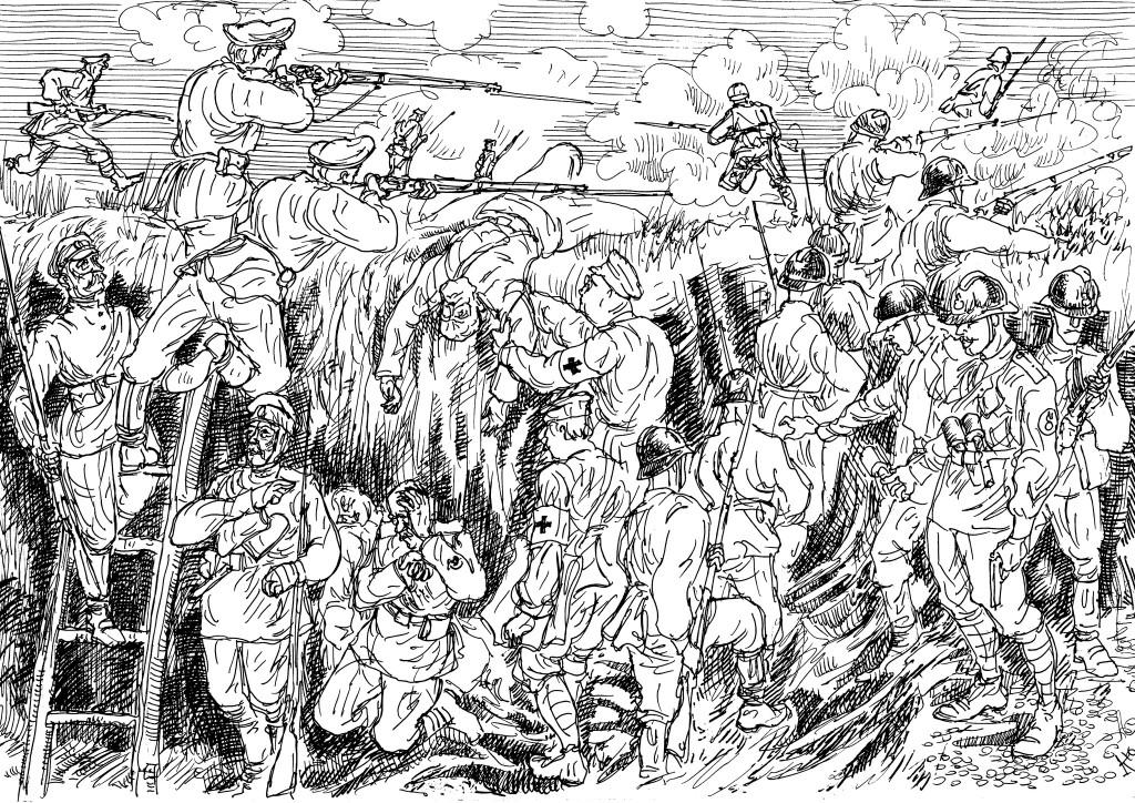 Выход из траншеи гренадеров-штурмовиков для атаки