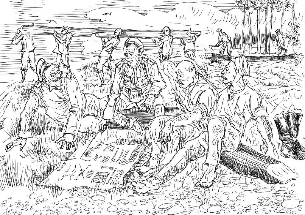 Молодой офицер обсуждает с унтер-офицерами своей роты детали строительства моста