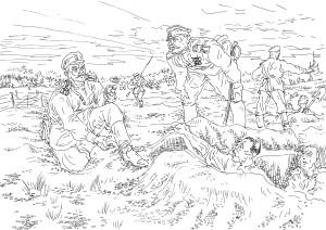 Рытье окопов нижними чинами 37-го Екатеринбургского пехотного полка