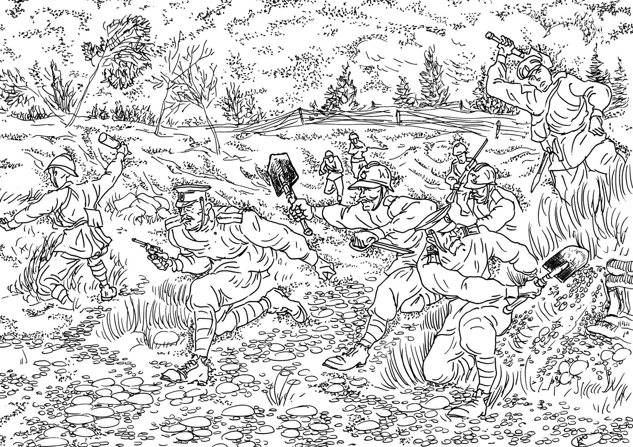 Гренадеры штурмуют траншею противника