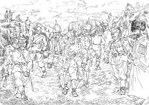 Германские парламентёры на позициях русской пехоты