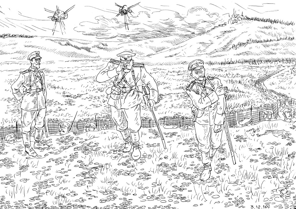 Вторая Отечественная Война 1914 года (Империалистическая). Русские офицеры поднимали в атаку солдат личным примером