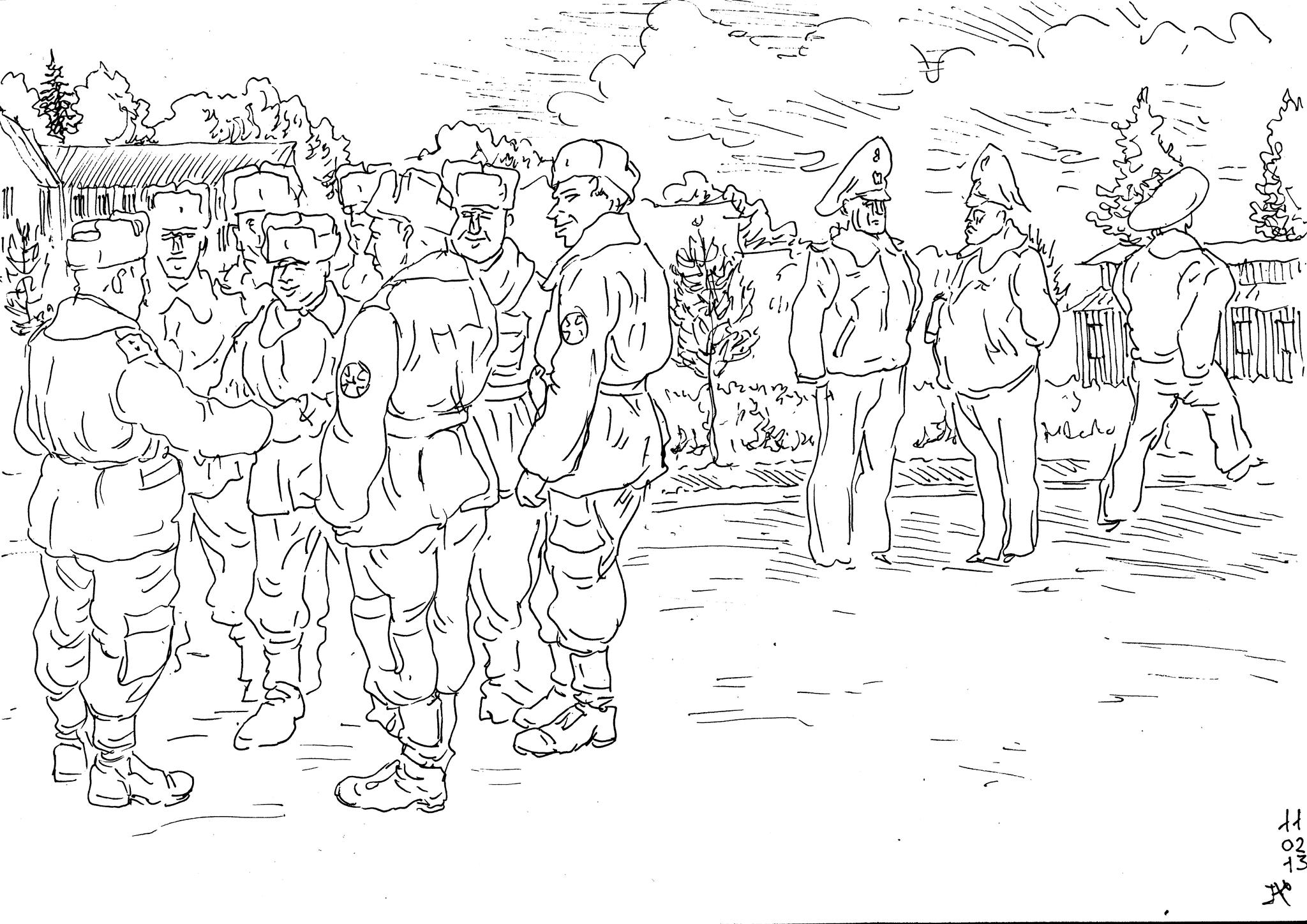 Уволенные в запас солдаты расстаются со своим «солдатским дедом»-прапорщиком