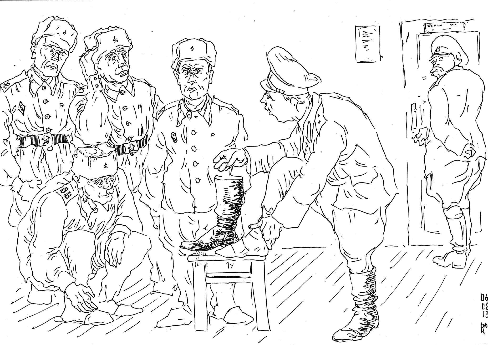 «Дед» учит солдатика наматывать портянки