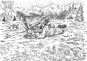 Боец-сапёр обороняет минное поле от инженерной разведки противника