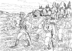Всё расстояние до позиций противника наступающая русская пехота шла «в рост». Офицеры впереди
