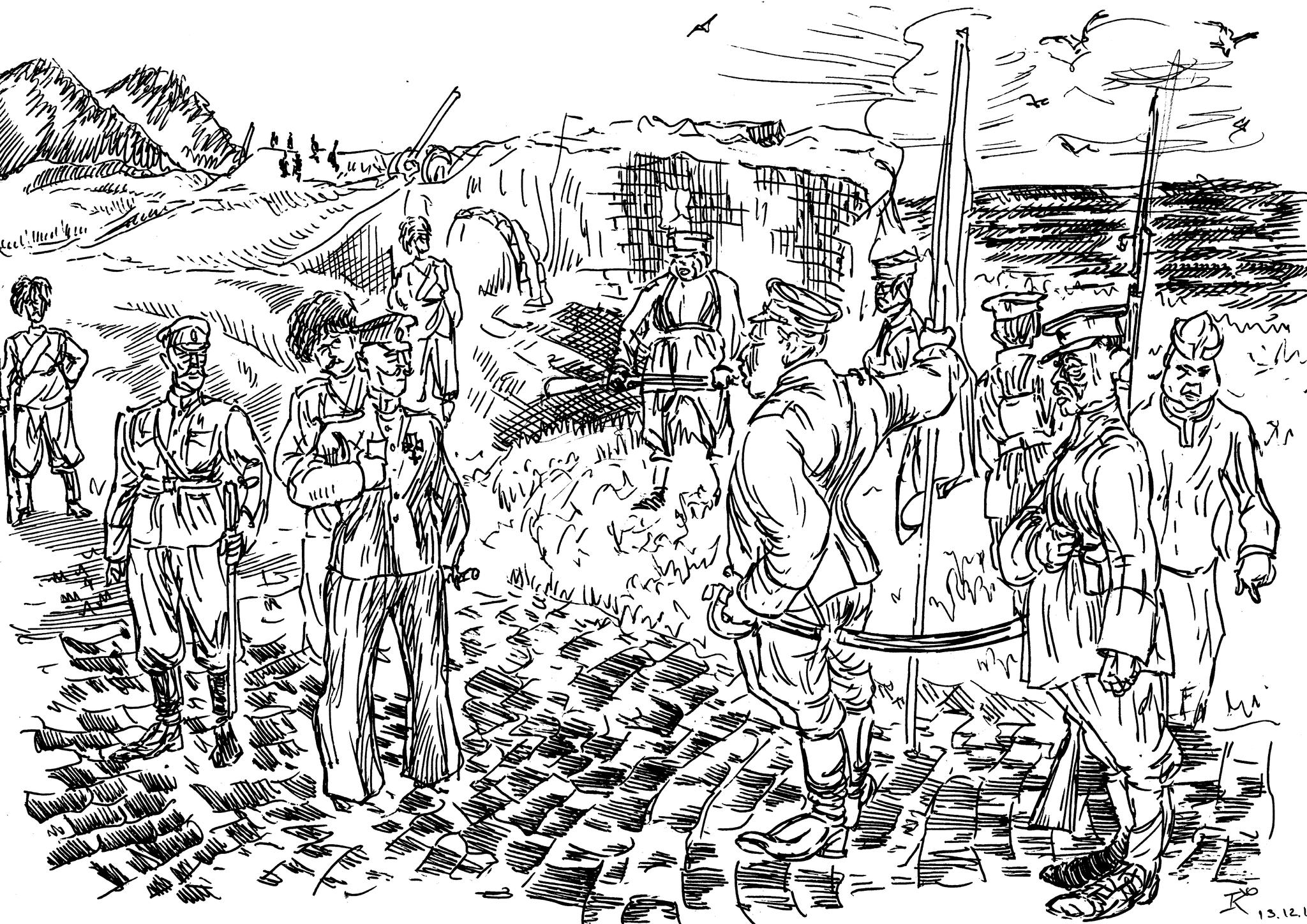 Офицеры артиллеристы получили приказ о сдаче