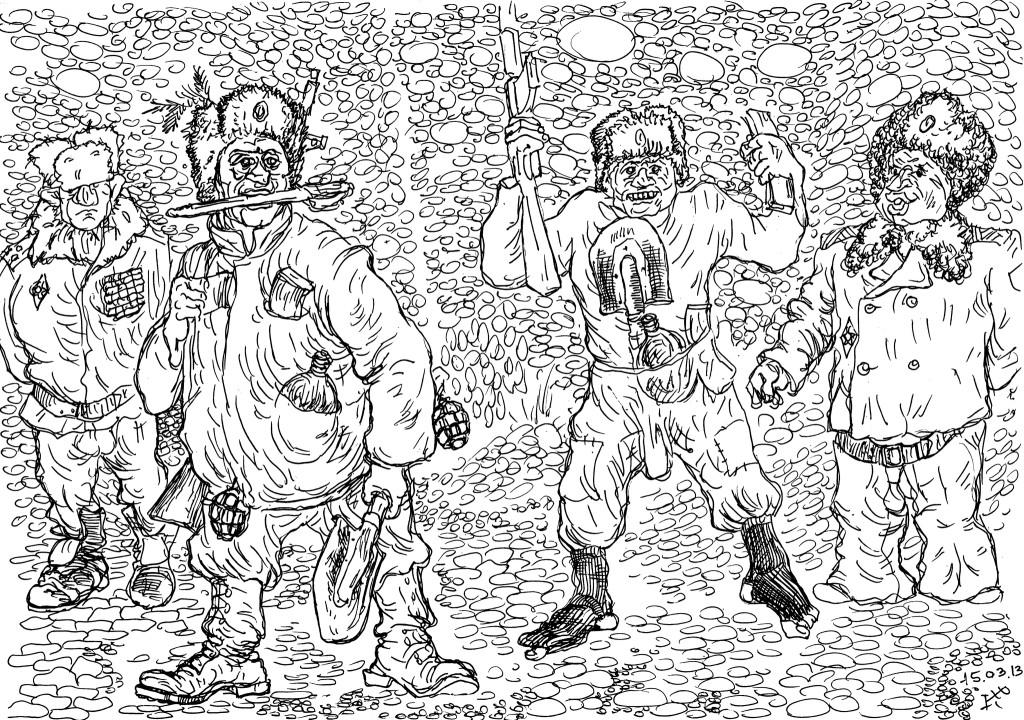 В носках, без ремня, с лопатой и флягой в штанах — солдат страшен