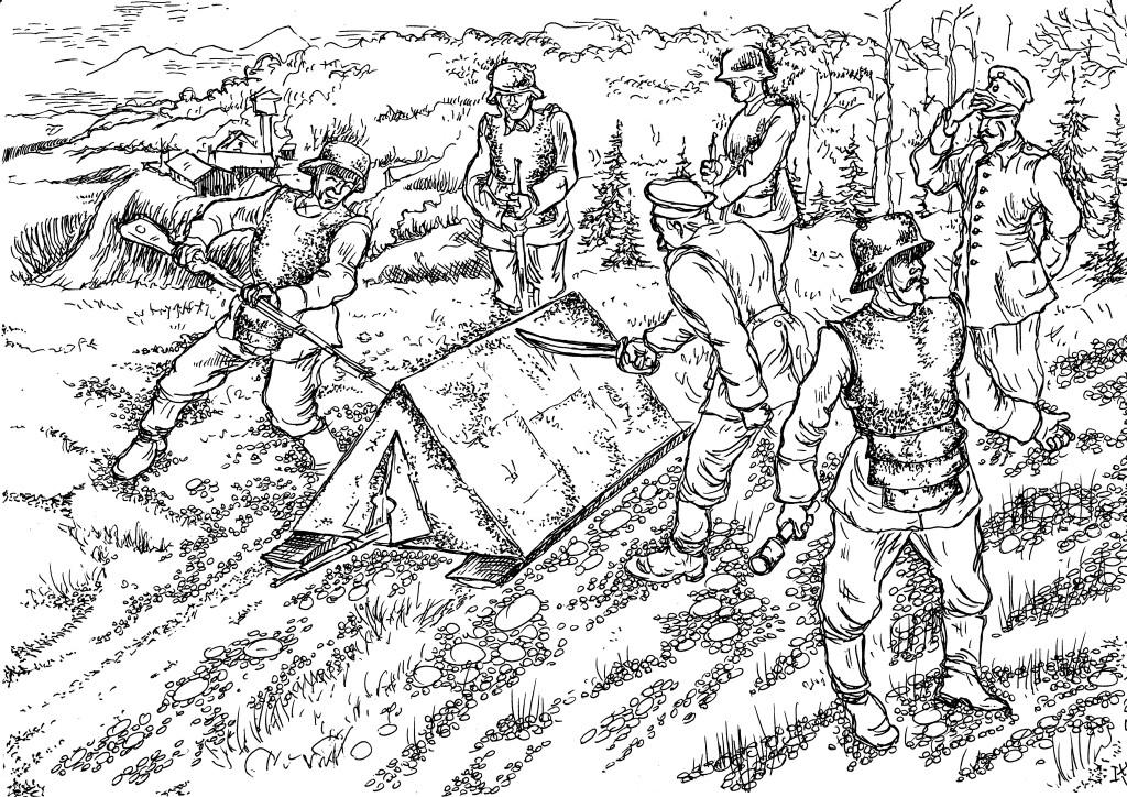 В 1915 году были изготовлены разные варианты закрытий для наступающей пехоты