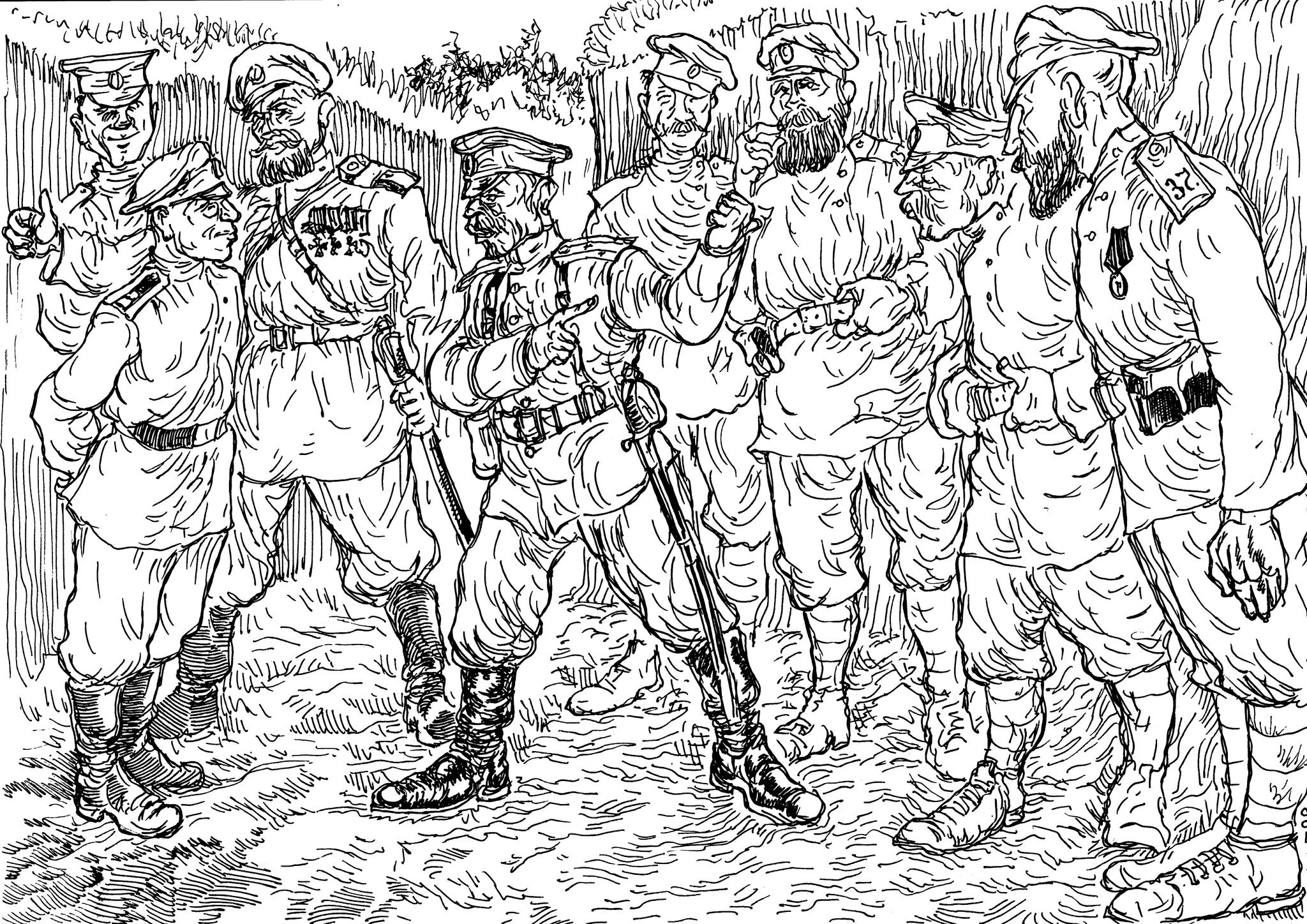 Комбат подполковник объяснил своим солдатам, что эти активисты-агитаторы  — кровопийцы, захребетники и враги