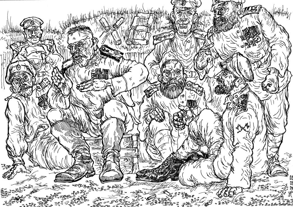 Зауряд-прапорщик Георгиевский Кавалер беседует с товарищами «георгиевцам», сослуживцам по 37-у Екатеринбургскому Полку