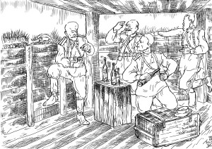 В 1920 году русские офицеры на Врангелевском фронте пьют «за славу Русского оружия»
