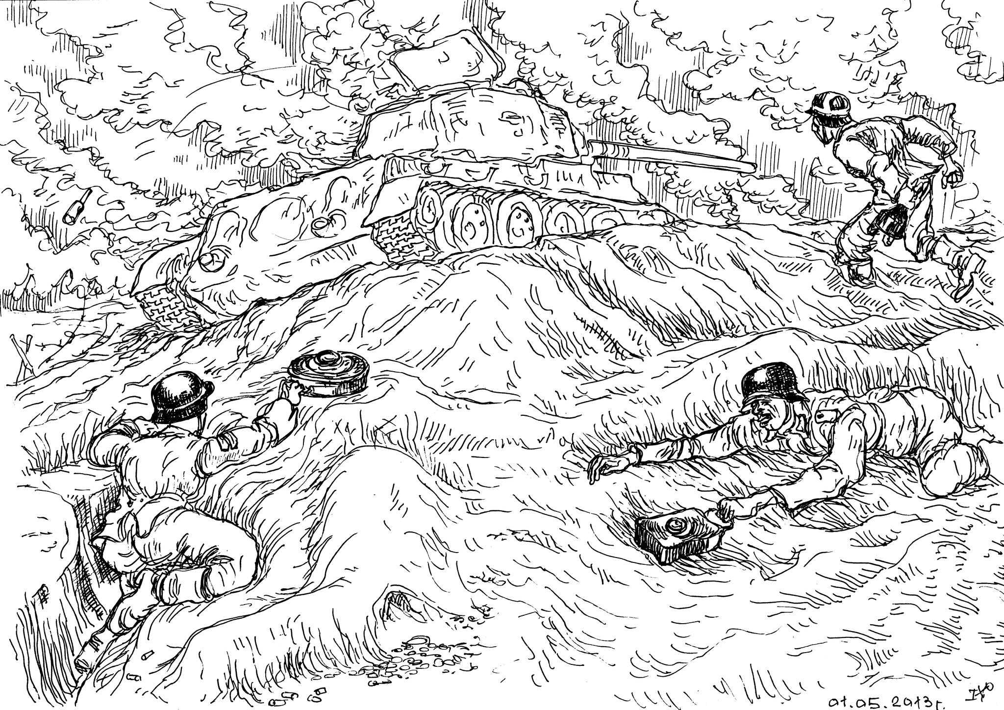 Сапёры Вермахта во время атаки советских войск на позиции немецкой пехоты уничтожали танки
