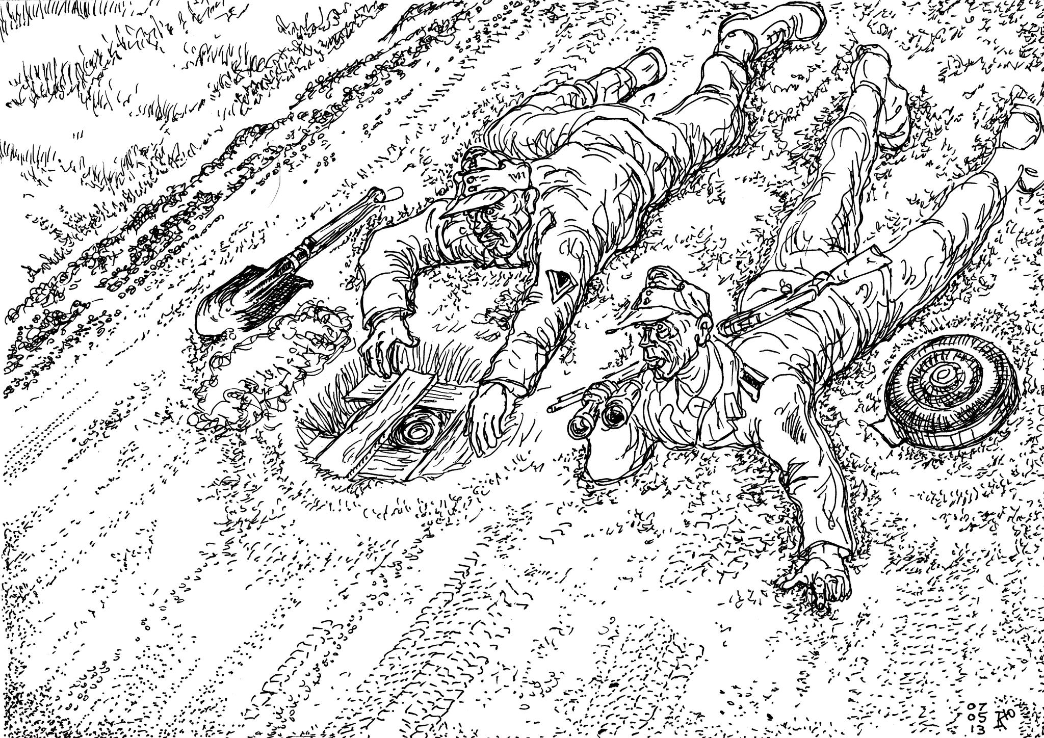 Сапёры Вермахта устанавливают на автодороге мину, которую сложно обнаружить и снять
