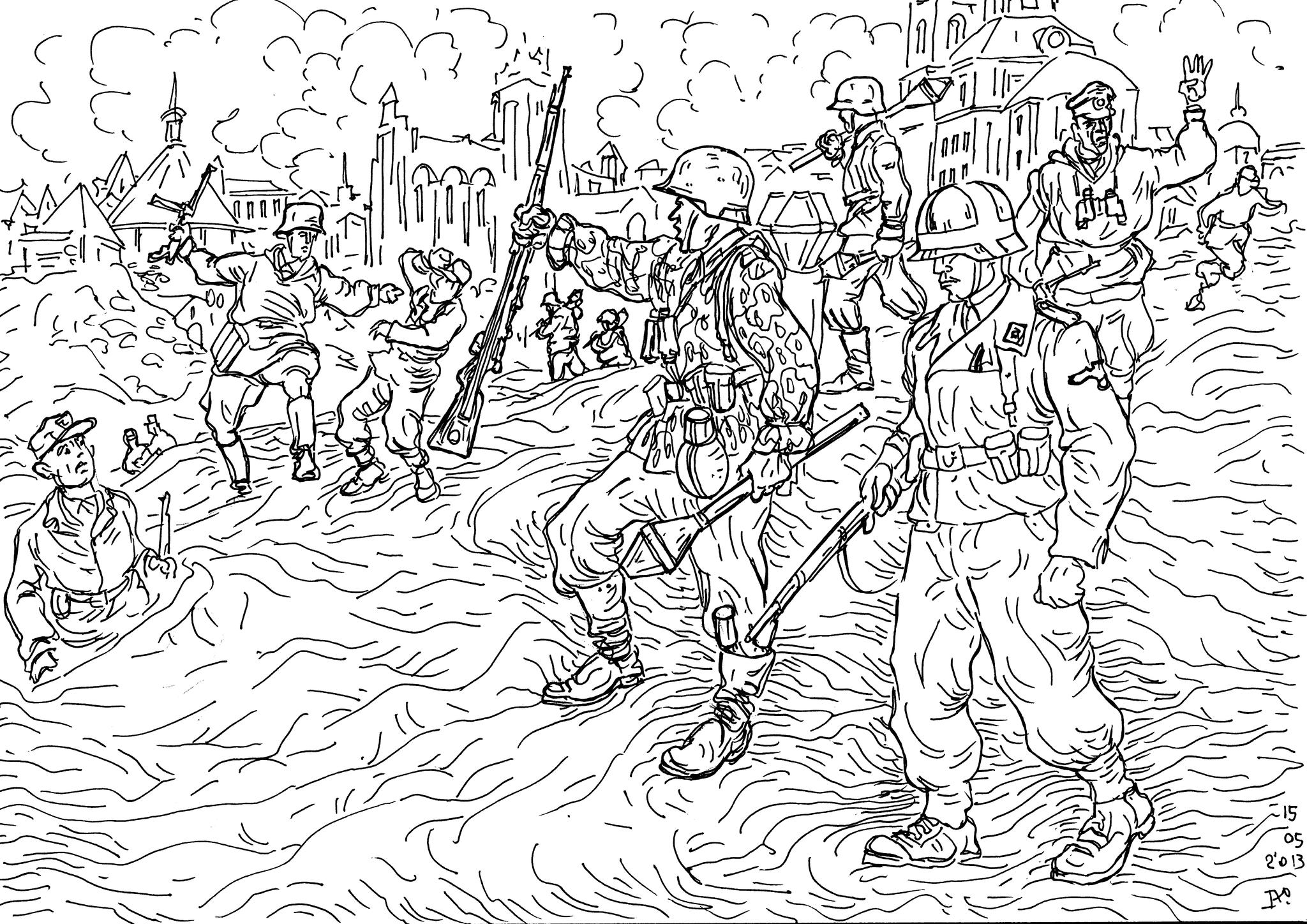 Военнослужащие SS-дивизии, вооруженные фаустпатронами, меняют на позициях мальчишек из Гитлерюгенда и бойцов фольксштурма