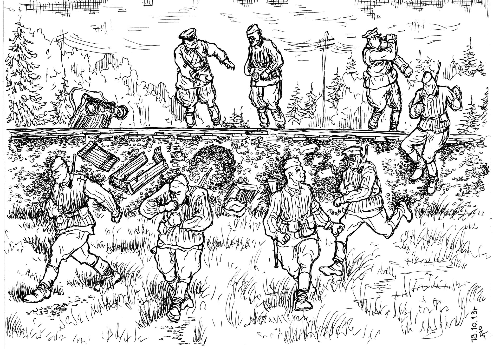 Подготовка места ложной закладки фугаса бойцами железнодорожных войск