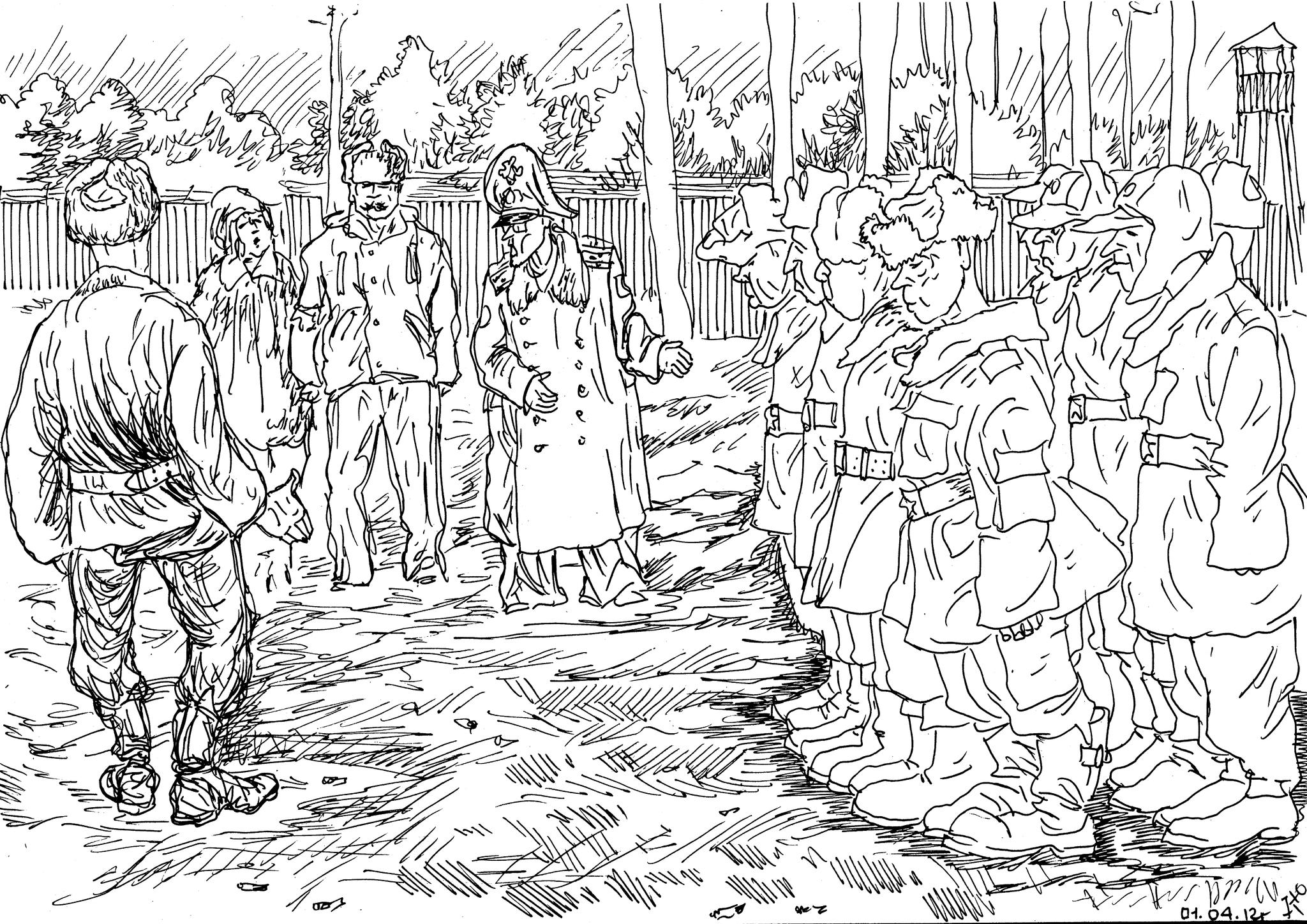 Командир части сопровождает родителей, приехавших к сыну в воинскую часть