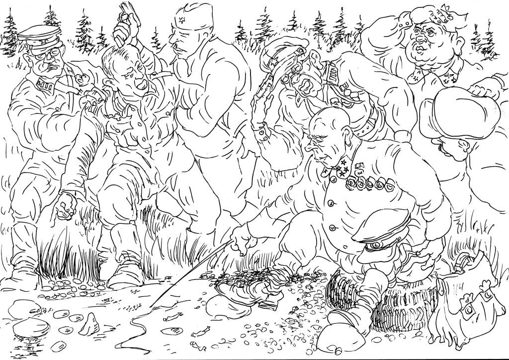 Первые дни войны. Германский унтер-офицер даёт пояснения по существу допроса полководцу-генералу