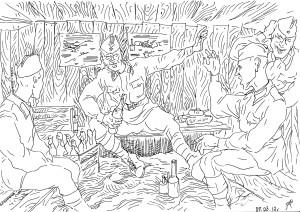Старшина инструктирует личный состав, как пользоваться бутылками с горючей смесью