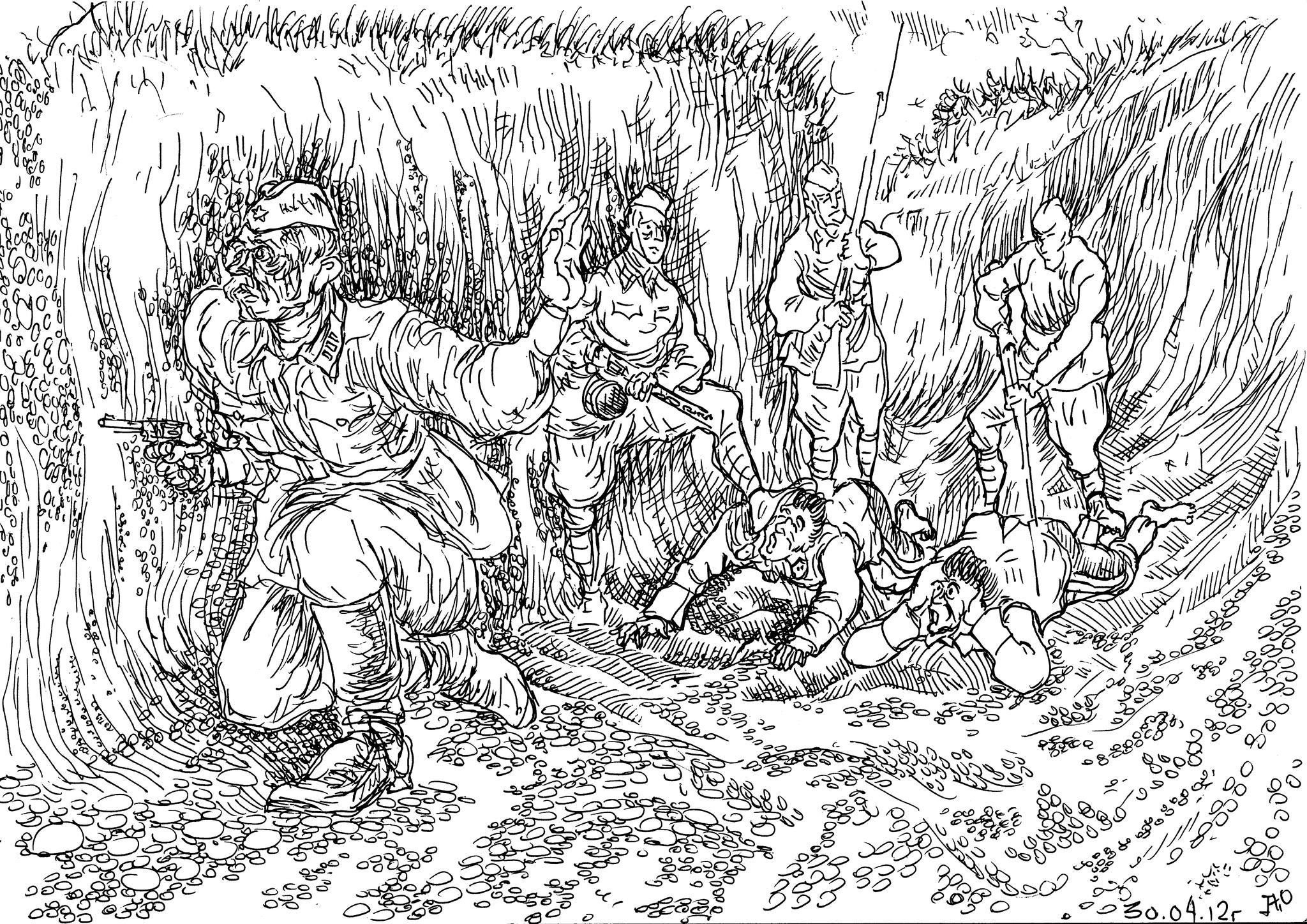 Группа бойцов, выходя из окружения, ведут своих полководцев-военачальников